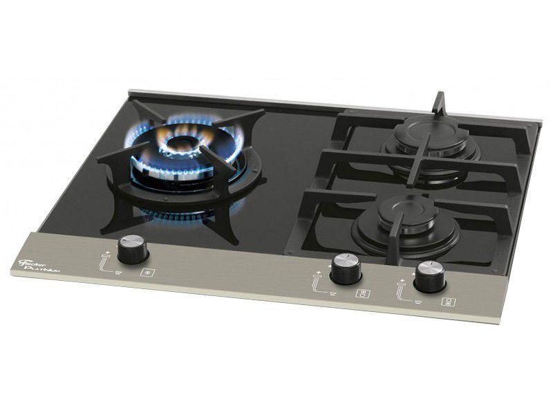 Cooktop 3 Bocas Fischer Platinum Vidro - à Gás Natural e GLP Acendimento Superautomático