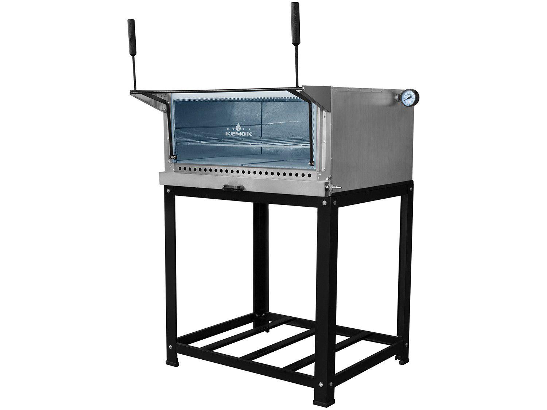 Forno de Lastro à Gás Industrial Kenok F276PIZZ - 276L Termômetro Porta Panela Suporte com Pés