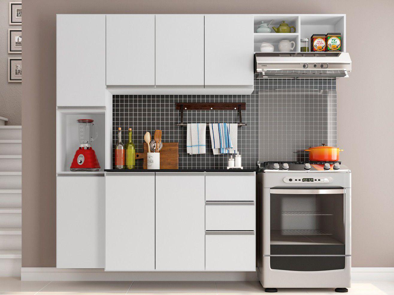 Cozinha Completa Poliman Móveis Laura - com Balcão 8 Portas 2 Gavetas