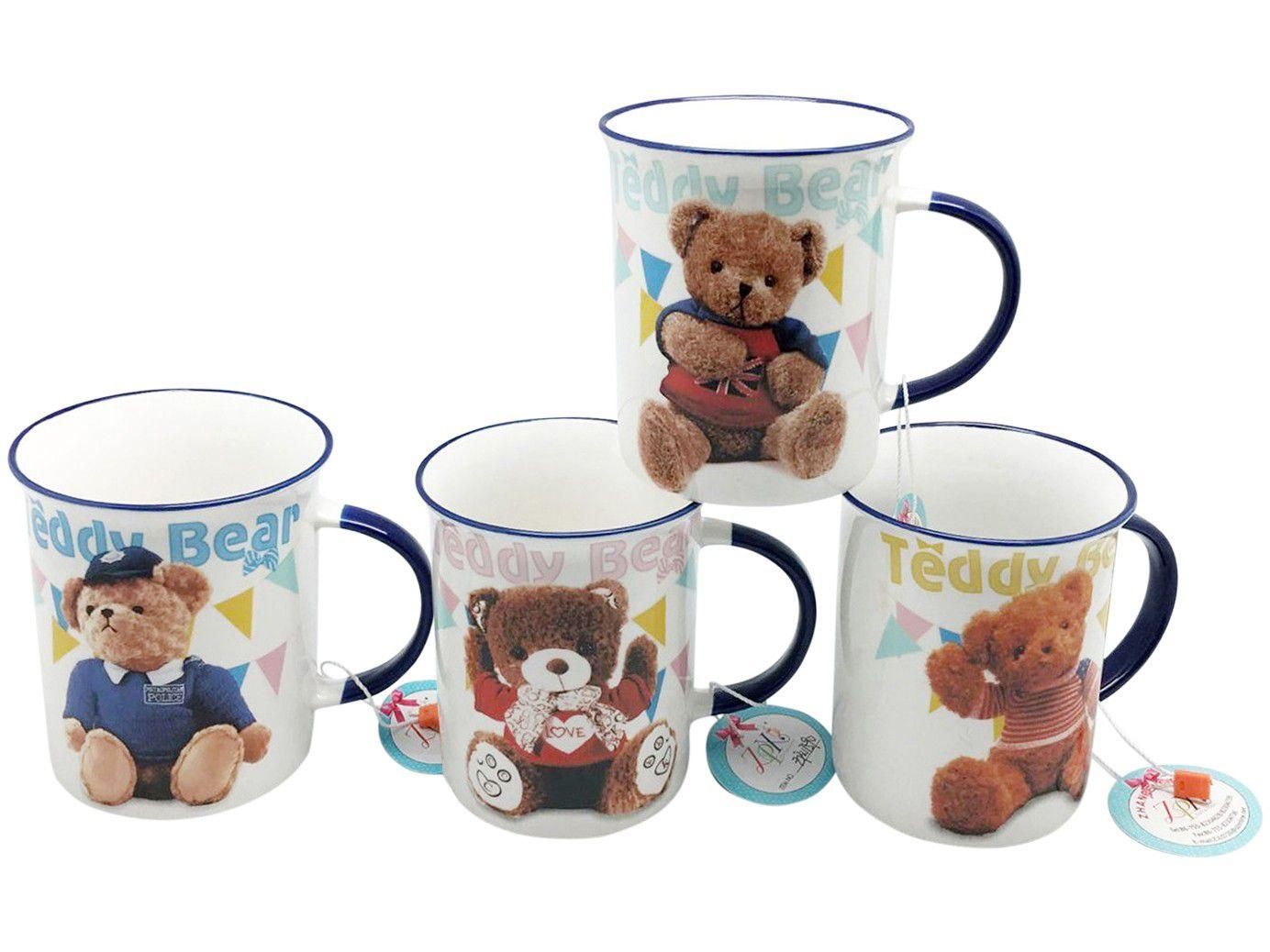 Caneca de Porcelana de Café 340ml Bella Tavola - Teddy 4 Peças