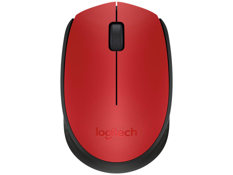 Mouse sem Fio Logitech Óptico 1000DPI M170 - 3 Botões Vermelho