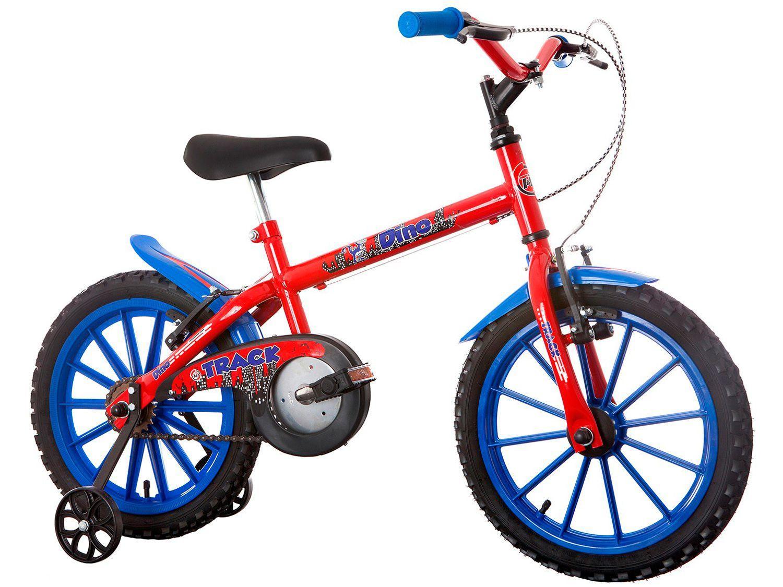 Bicicleta Infantil Aro 16 Track & Bikes Dino - Vermelha com Rodinhas Freio V-Brake