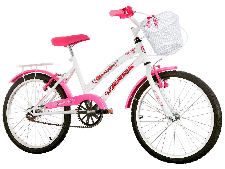 Bicicleta Infantil Aro 20 Track & Bikes Marbela - Branco e Rosa com Cesta Freio V-Brake