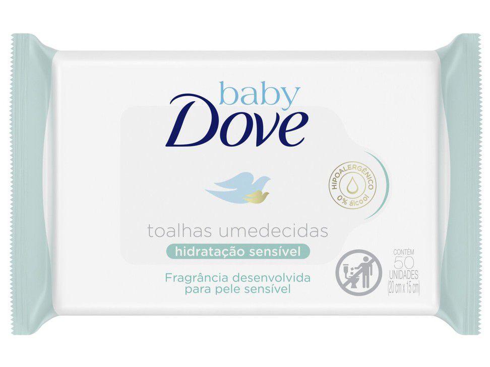 Lenços Umedecidos Baby Dove Hidratação Sensível - 50 Unidades