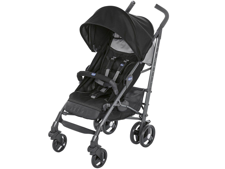 Carrinho de Bebê Passeio Chicco Lite Way - Stroller Jet Black Reclinável 5 Posições