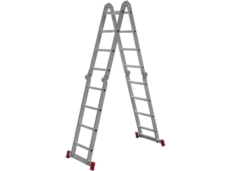 Escada Articulada Alumínio Botafogo - 16 Degraus 13 Posições Profissional ESC0293