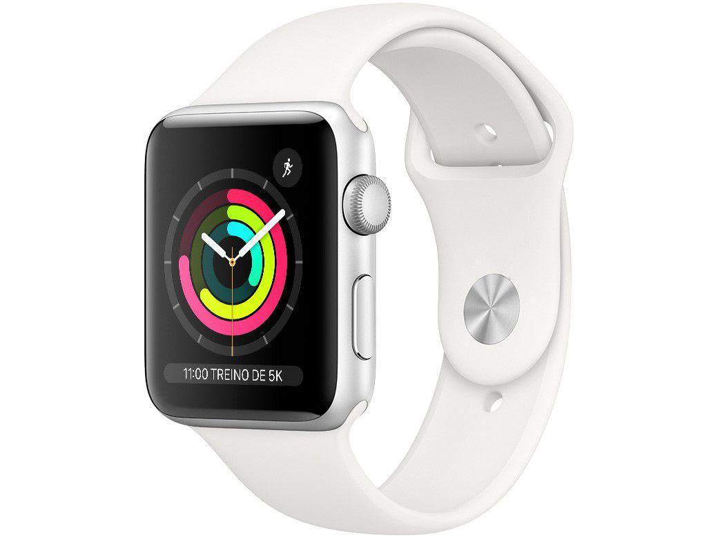 Apple Watch Series 3 (GPS) 42mm Caixa Prateada - Alumínio Pulseira Esportiva Branca