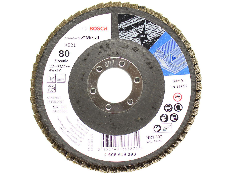 "Disco Flap 4.1/2"" Grão 80 Bosch - Standard for Metal Gr80"
