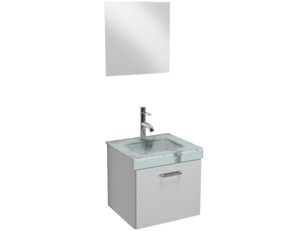 Gabinete para Banheiro de Vidro com Espelho - 1 Porta VB Cristais VB5039BMBR