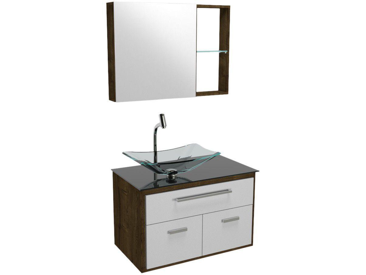 Gabinete para Banheiro de Vidro com Cuba e Espelho - 1 Porta 2 Gavetas VB Cristais VB5047VDPR