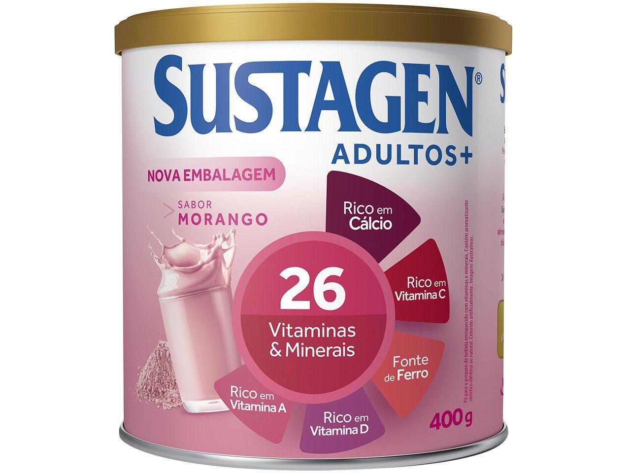 Complemento Alimentar Sustagen Adultos+ - 400g 1 Unidade Morango