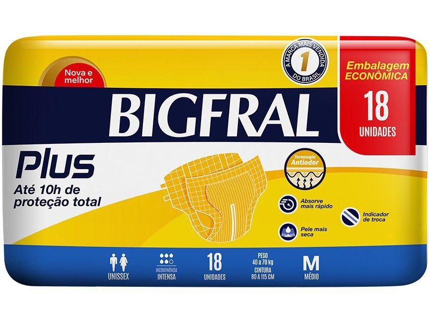 Fralda Geriátrica Bigfral Plus Normal - Tamanho M 18 Unidades