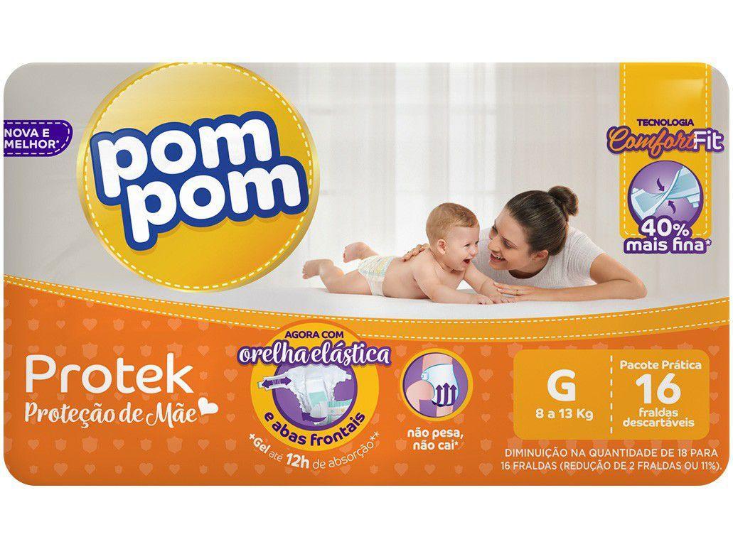 Fralda Pom Pom Protek Proteção de Mãe - G 16 Unidades