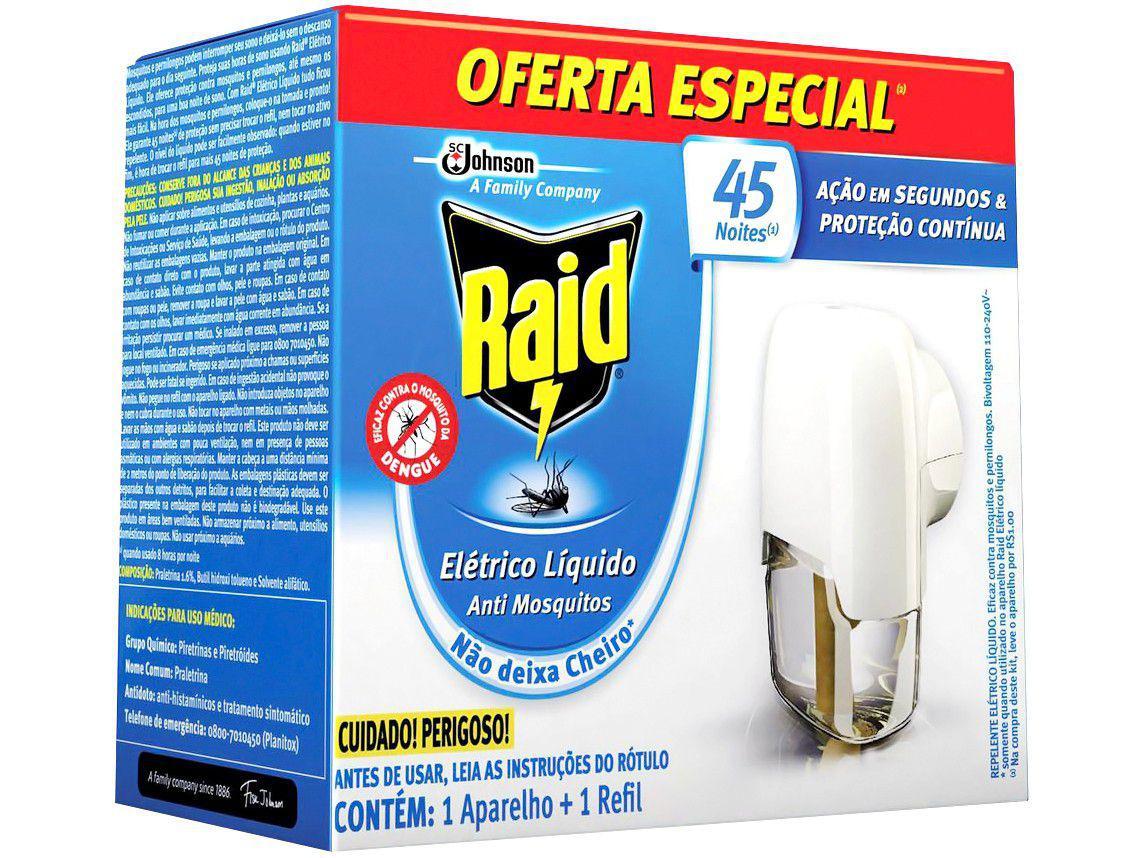 Repelente Elétrico Líquido Raid Antimosquitos - 32,9ml 45 Noites