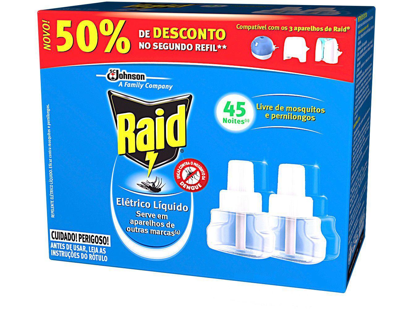 Repelente Elétrico Líquido Raid Refil 32,9ml - 90 Noites