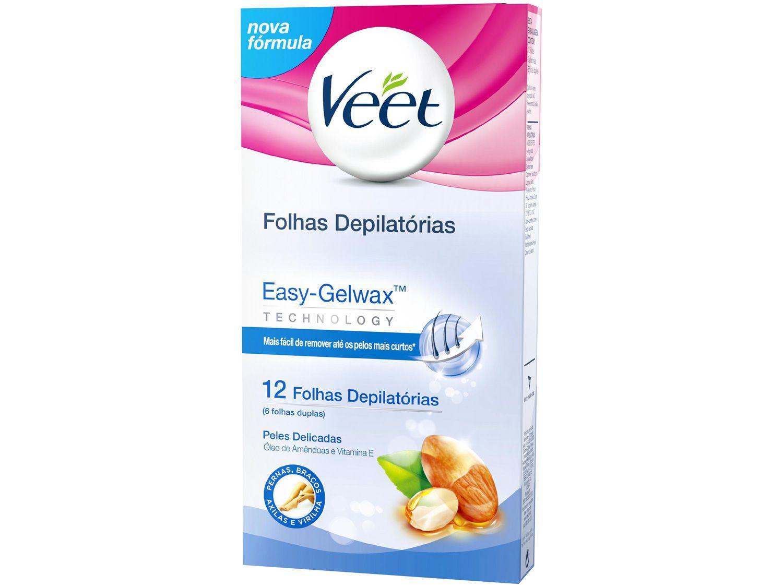 Folha Depilatória Veet Peles Delicadas - Óleo de Amêndoas e Vitamina E Corporal 12 Folhas