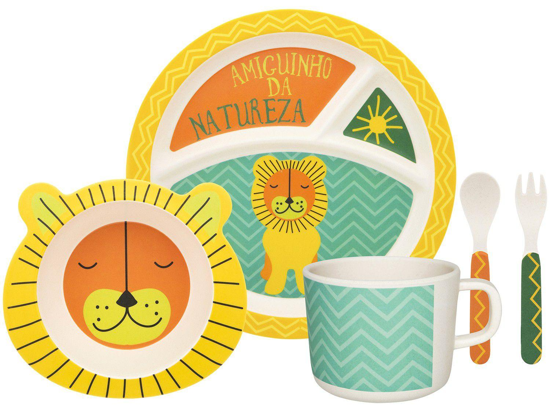 Kit Alimentação Infantil 5 Peças Oxford Bamboo - Leãozinho