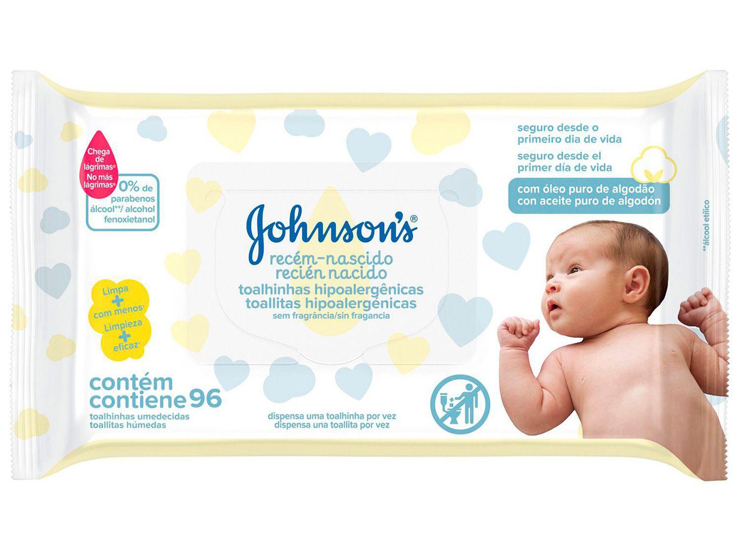 Lenço Umedecido Johnsons Baby - Recém-Nascido 96 Unidades