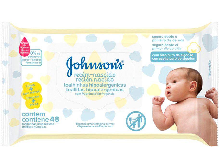 Lenços Umedecidos Johnsons Baby Recém-Nascido - Sem Fragrância 48 unidades