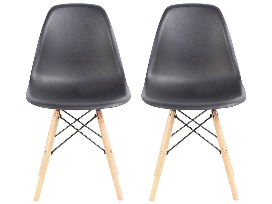 Jogo de Cadeiras Pé Palito Assento Preto - EAM-PR1 AC Comercial