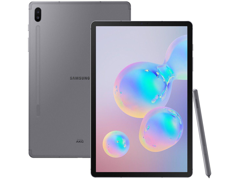 "Tablet Samsung Galaxy Tab S6 128GB 10,5"" Wi-Fi - Android 9.0 Câm. Dupla + Selfie 8MP"