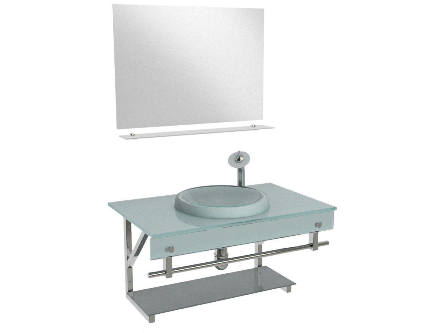 Gabinete para Banheiro de Vidro com Cuba e Espelho - VB Cristais VB2028/60MBR