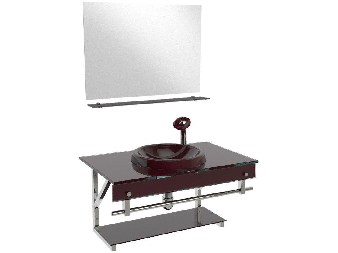Gabinete para Banheiro de Vidro com Cuba e Espelho - VB Cristais VB2028/80MVI