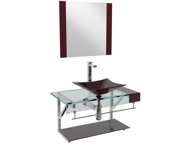 Gabinete para Banheiro de Vidro com Cuba e Espelho - VB Cristais Premium VB2018/60VI