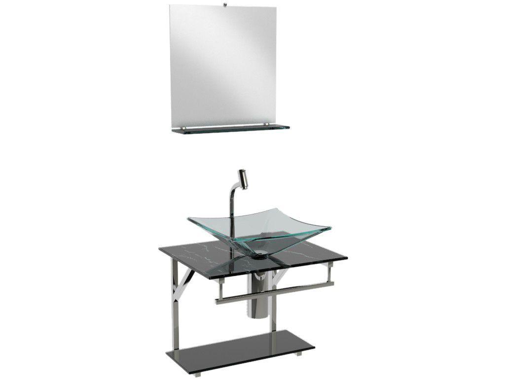Gabinete para Banheiro de Vidro com Cuba e Espelho - VB Cristais Advance VB2023/50MPR