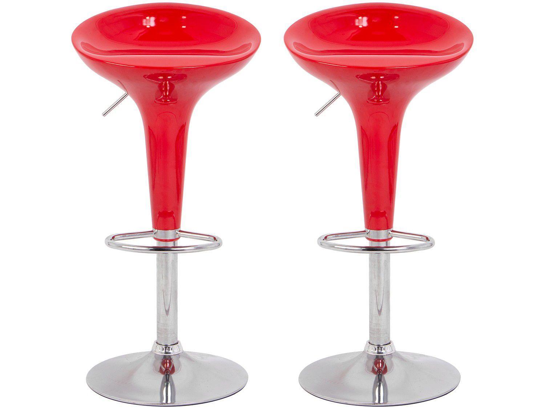 Banqueta Alta Giratória Vermelha BQT-VE1 - 2 Peças