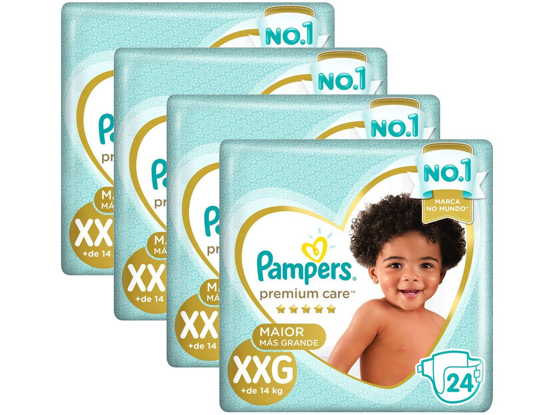 Kit Fraldas Pampers Premium Care - Tam. XXG + de 14Kg 24 Unidades Cada 4 Pacotes