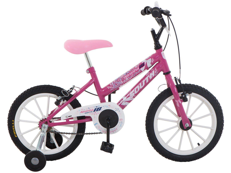Bicicleta Infantil Aro 16 South Bike Nininha - Rosa com Rodinhas Freio V-Brake