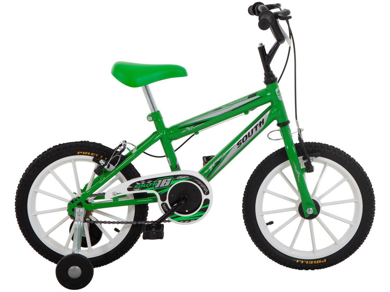 Bicicleta Infantil Aro 16 South Bike Ferinha - Verde com Rodinhas Freio V-Brake