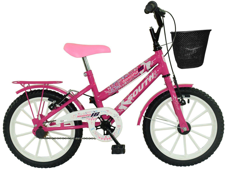 Bicicleta Infantil Aro 16 South Bike Cissa Nininha - com Rodinhas e Cesta Freio V-Brake