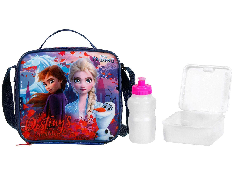 Lancheira Infantil Térmica Escolar Frozen 2 - Azul e Vermelha Dermiwil Soft