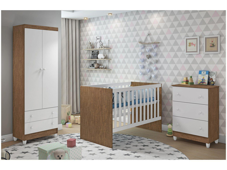 Quarto de Bebê Completo com Berço + Guarda-Roupa - e Cômoda Carolina Baby Lívia