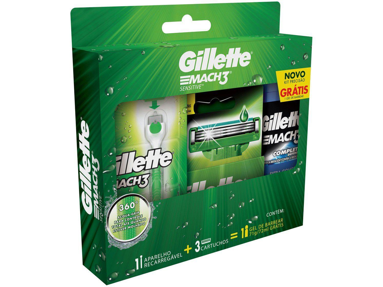 Kit Aparelho de Barbear Gillette Mach3 Acqua-Grip - Sensitive 2 Cargas Gel Mach3 Complete Defense 72ml
