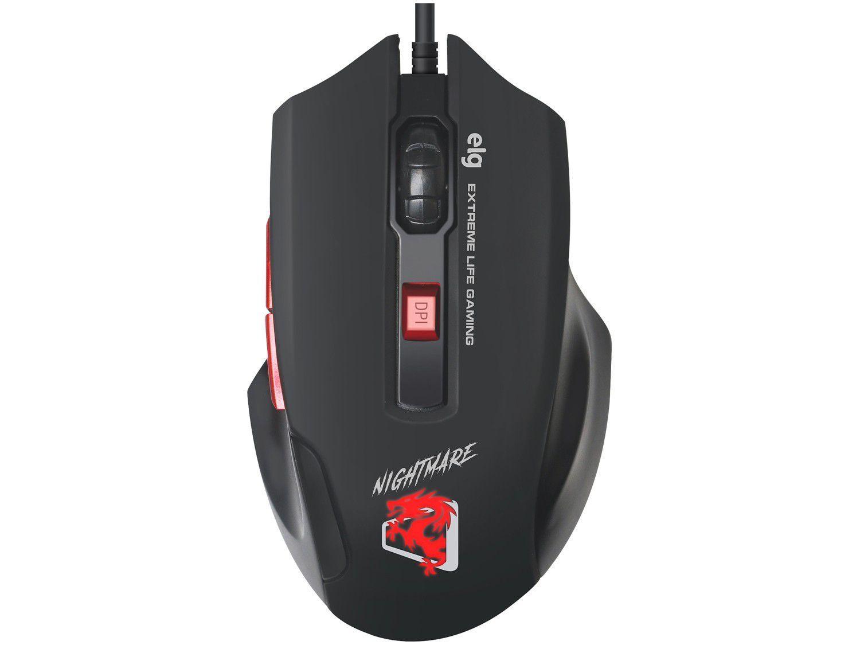 Mouse Gamer ELG Óptico 4000DPI 6 Botões - Nightmare