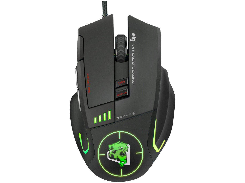 Mouse Gamer ELG Óptico 5200DPI 8 Botões - Strike Soldier