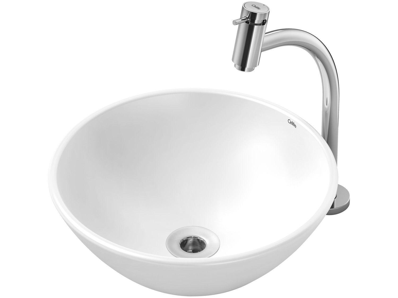 Cuba de Apoio Louça Sanitária Redonda 35x35cm - com Torneira Comum para Banheiro Basic Celite