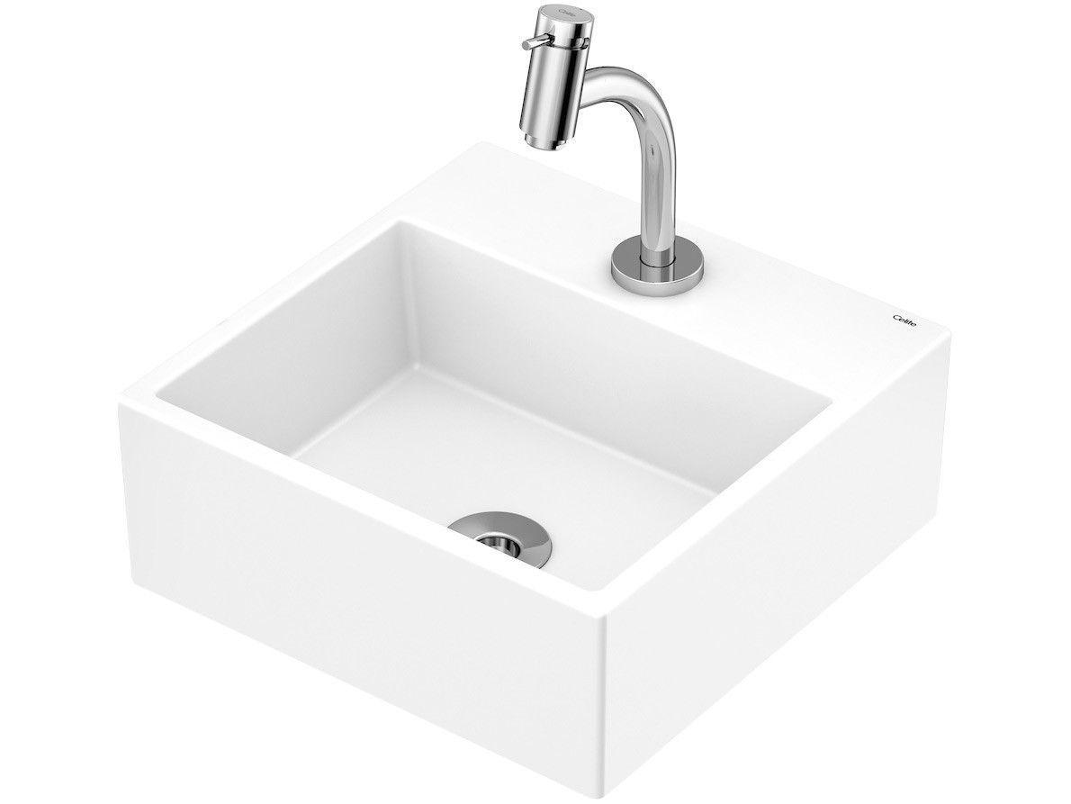 Cuba de Apoio Louça Sanitária Quadrada 35x35cm - com Torneira Comum para Banheiro Basic Celite