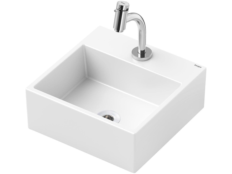 Cuba de Apoio Louça Sanitária Quadrada 35x35cm - com Torneira Comum para Banheiro Loft Incepa