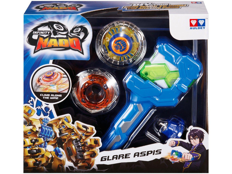 Pião de Batalha Candide Alpha - Infinity Nado Glittering com Lançador e Acessórios
