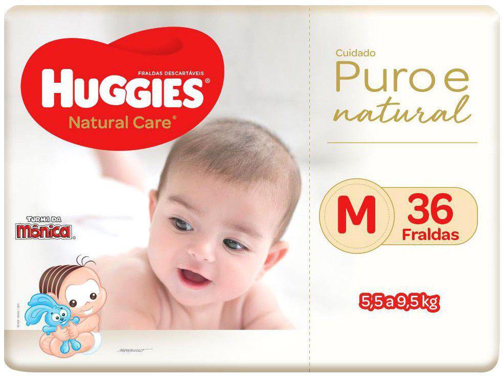 Fralda Huggies Premium Puro e Natural - Tam. M 5,5 a 9,5Kg 36 Unidades