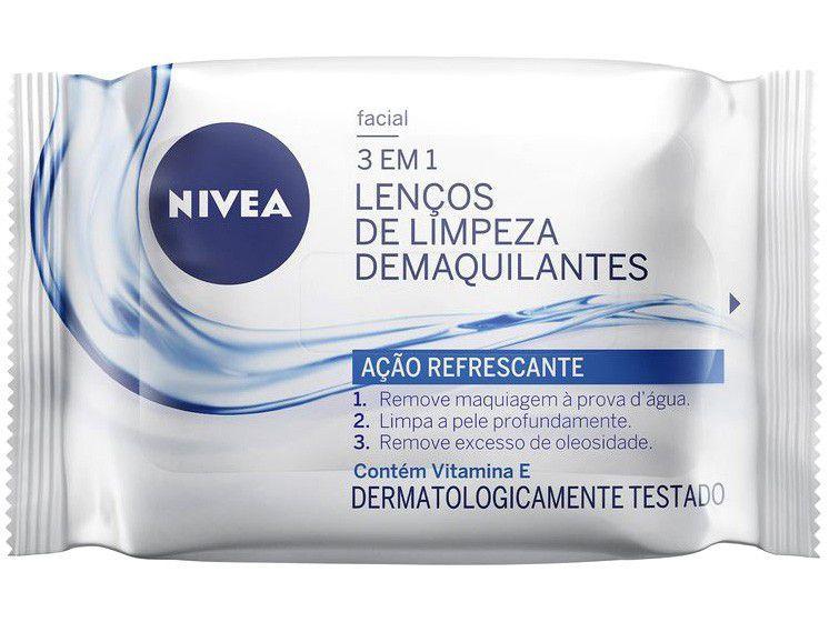 Lenço Demaquilante Nivea 3 em 1 Ação Refrescante - 25 unidades