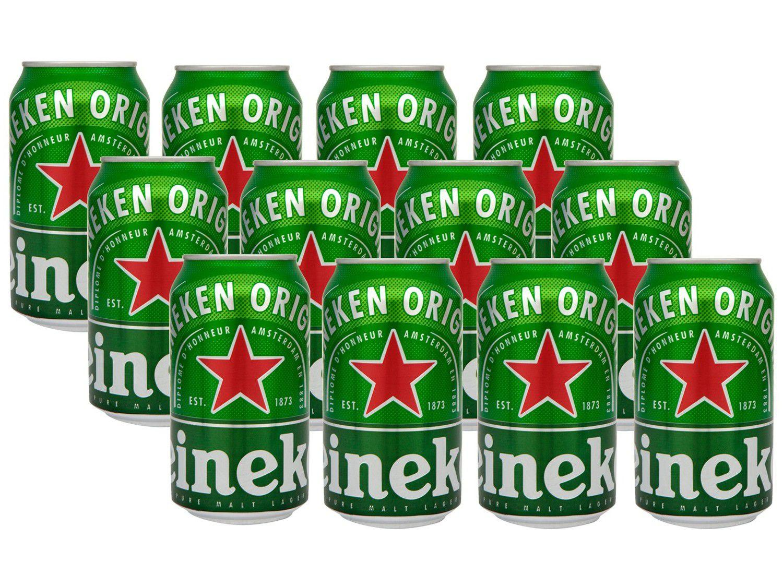 Cerveja Heineken Premium Puro Malte Pilsen Lager - 12 Unidades Lata 350ml