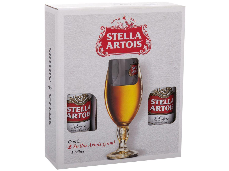 Kit Cerveja Stella Artois Lager 2 Unidades 550ml - com Cálice