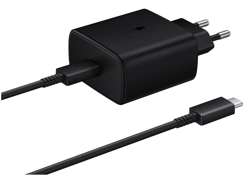 Carregador de Viagem Carga Rápida Entrada USB-C - com Cabo USB-C 1m Samsung EP-TA845XBPGBR Original