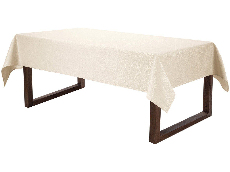 Toalha de Mesa Retangular Karsten Jacquard Bege - 160x220cm Sempre Limpa Mendi