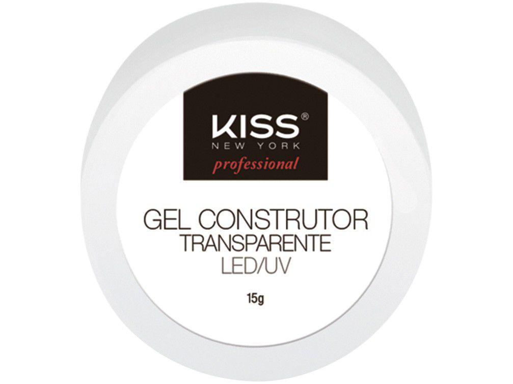 Gel Construtor para Unhas Kiss New York - Profissional LED/UV Transparente 15g